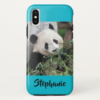 Funda Para iPhone X azul duro del equipo de submarinismo de la panda