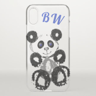 Funda Para iPhone X Azul personalizado amor de la panda
