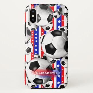Funda Para iPhone X Balones de fútbol blancos rojos de las barras y