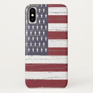Funda Para iPhone X Bandera americana de la corteza de árbol