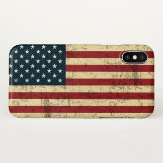 Funda Para iPhone X Bandera americana envejecida apenada