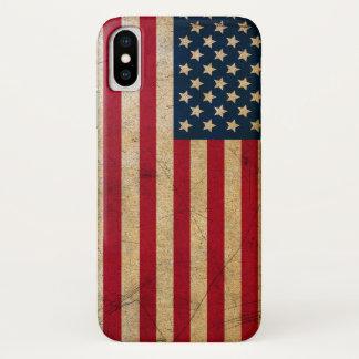 Funda Para iPhone X Bandera americana los E.E.U.U. del Grunge