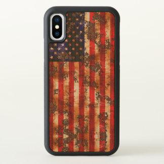 Funda Para iPhone X Bandera vertical americana oxidada resistida
