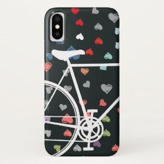 Funda Para iPhone X Bicicleta abstracta de los corazones negros del