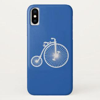 Funda Para iPhone X Bicicleta blanca del vintage en azul