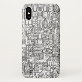 Funda Para iPhone X blanco del negro de la ciudad del pan de jengibre