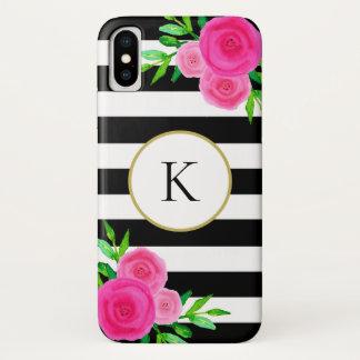 Funda Para iPhone X Blanco floral del negro del monograma de la