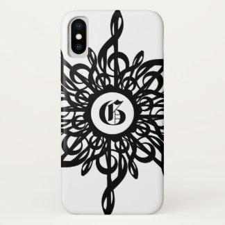Funda Para iPhone X Blanco ornamental del G-Clef del negro del