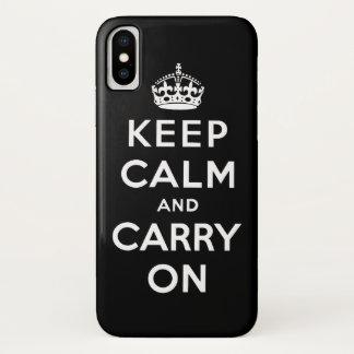 Funda Para iPhone X Blanco y negro guarde la calma y continúe