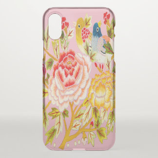 Funda Para iPhone X Bordado del pájaro de la flor