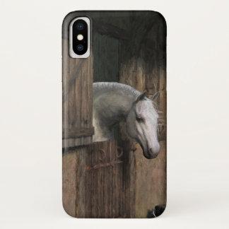 Funda Para iPhone X Caballo gris en la puerta estable