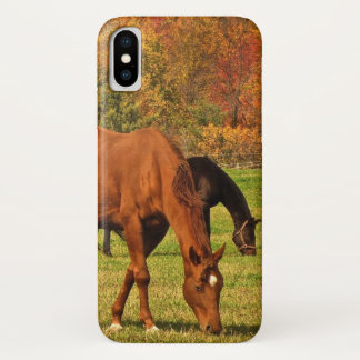 Funda Para iPhone X Caballos de Brown en caso del iPhone X del otoño