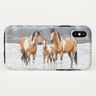 Funda Para iPhone X Caballos de la pintura del ante en nieve