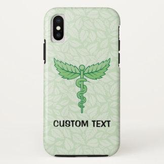 Funda Para iPhone X Caduceo con el fondo de las hojas