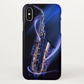 Funda Para iPhone X Caja azul del iPhone X de Zazzle del saxofón