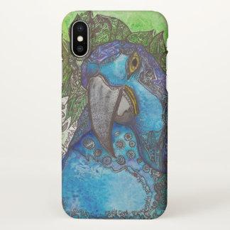 Funda Para iPhone X Caja azul del iPhone X del Macaw del jacinto