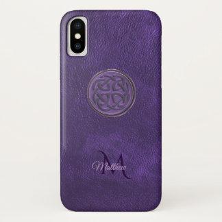 Funda Para iPhone X Caja céltica de cuero púrpura del iPhone X del