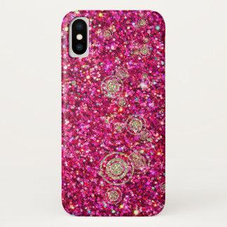Funda Para iPhone X Caja de las chispas y del purpurina