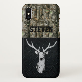 Funda Para iPhone X Caja de plata y negra del teléfono de la caza de