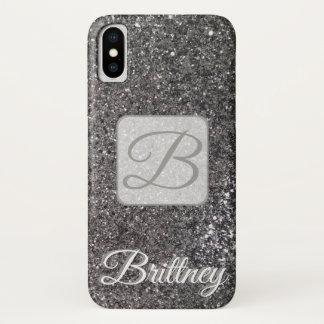 Funda Para iPhone X Caja negra de encargo de Iphone x del purpurina