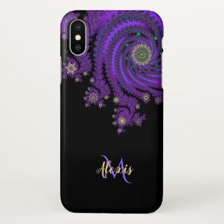 Funda Para iPhone X Caja púrpura céltica del iPhone X del fractal del