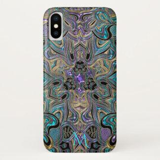 Funda Para iPhone X Caja púrpura del iPhone X del monograma de la
