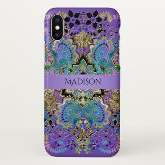 Funda Para iPhone X Caja púrpura del iPhone X del oro de la mandala