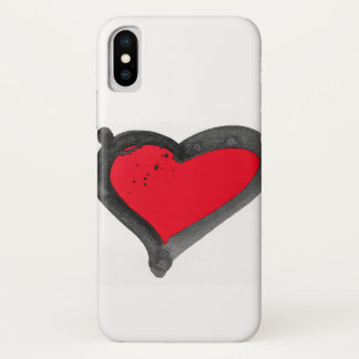 Funda Para iPhone X Caja roja del iPhone del corazón del cepillo
