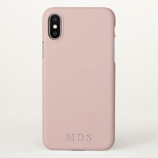 Funda Para iPhone X Caja rosada milenaria con monograma del teléfono