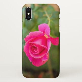 Funda Para iPhone X Caja subió estampado de flores rosado del teléfono