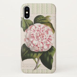 Funda Para iPhone X Camelia rosada y blanca del vintage de la alegría