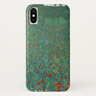 Funda Para iPhone X Campo de la amapola de Gustavo Klimt, arte Nouveau