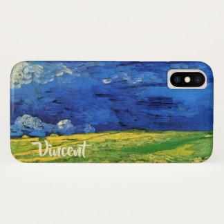 Funda Para iPhone X Campo de trigo de Van Gogh debajo de un cielo