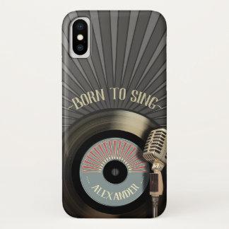 Funda Para iPhone X Cantantes micrófono retro y vinilo 45