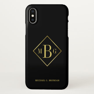 Funda Para iPhone X Capa con clase del marco del oro del monograma