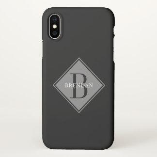 Funda Para iPhone X Capa elegante del gris del humo del monograma