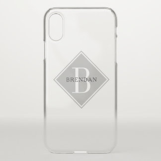 Funda Para iPhone X Capa simple del gris del humo del monograma