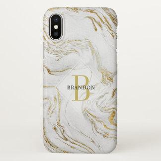 Funda Para iPhone X Capa veteada monograma masculino del oro blanco