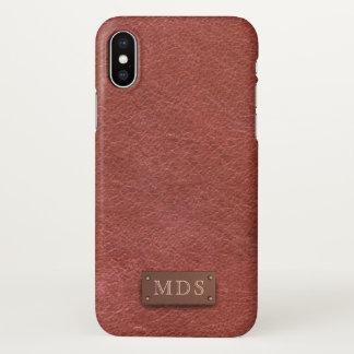 Funda Para iPhone X Caso de cuero de color rojo oscuro del iPhone X de