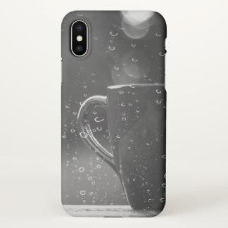 Funda Para iPhone X Caso del iPhone X del café del día lluvioso