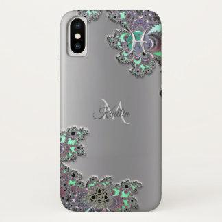 Funda Para iPhone X Caso del iPhone X del fractal de la plata de la