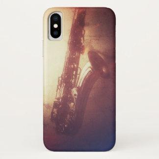 FUNDA PARA iPhone X CASO ENRROLLADO DEL JAZZ IPHONE DEL SAXOFÓN