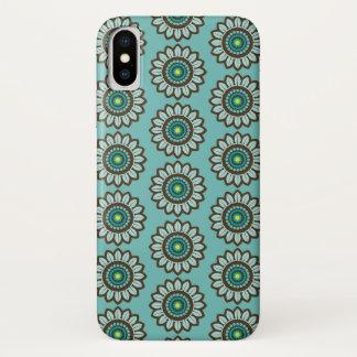 Funda Para iPhone X Caso verde azulado estilizado retro del iPhone del