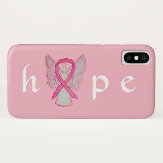 Funda Para iPhone X Casos rosados del iPhone X del ángel del cáncer de