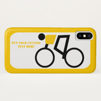 Funda Para iPhone X Ciclista que monta el suyo amarillo de la