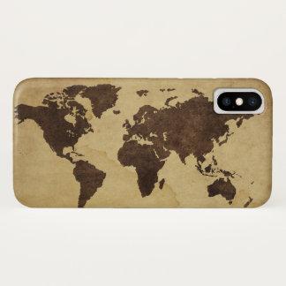 Funda Para iPhone X Ciérrese para arriba del mapa del mundo antiguo 3