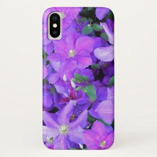 Funda Para iPhone X Clematis violeta hermoso