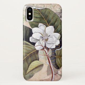 Funda Para iPhone X Collage botánico de la antigüedad de la magnolia