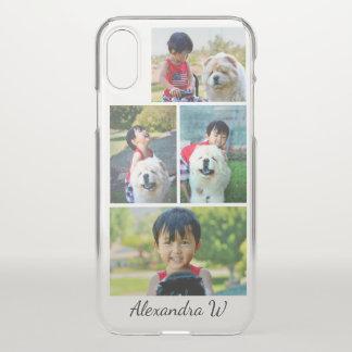 Funda Para iPhone X Collage de cuatro fotos con nombre personalizado