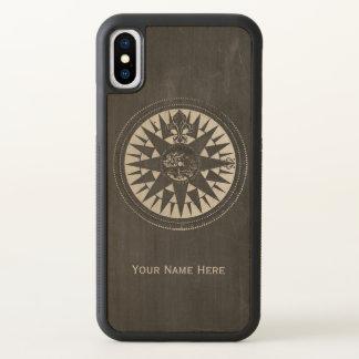 Funda Para iPhone X Compás náutico en la pizarra negra